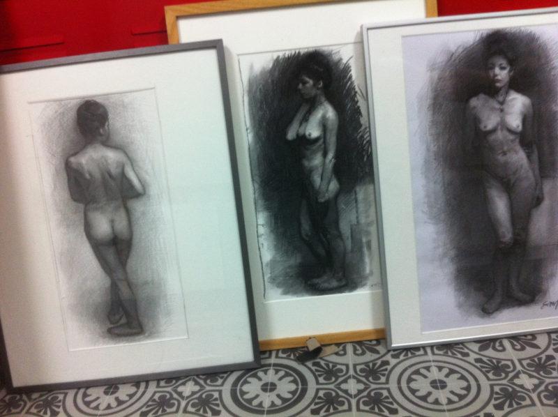 trois dessins académiques de femmes nues