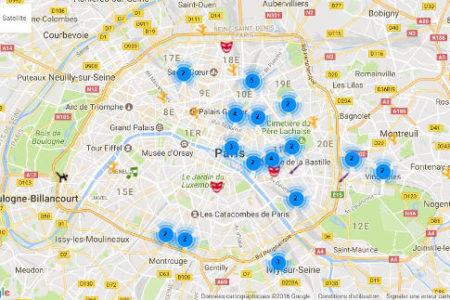 Carte des meileurs cours à Paris