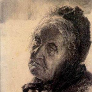 portrait peint de vieille femme