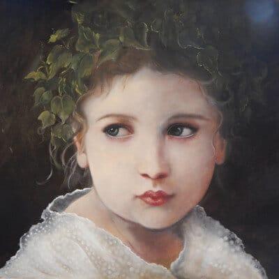 portrait peint de petite fille