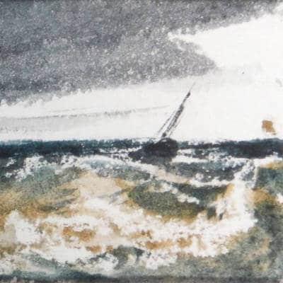 détail d'une marine aquarelle
