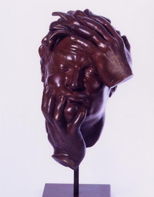 sculpture de tête d'homme
