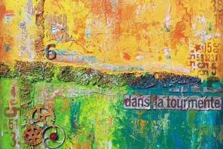 peinture avec textures en jaune et vert