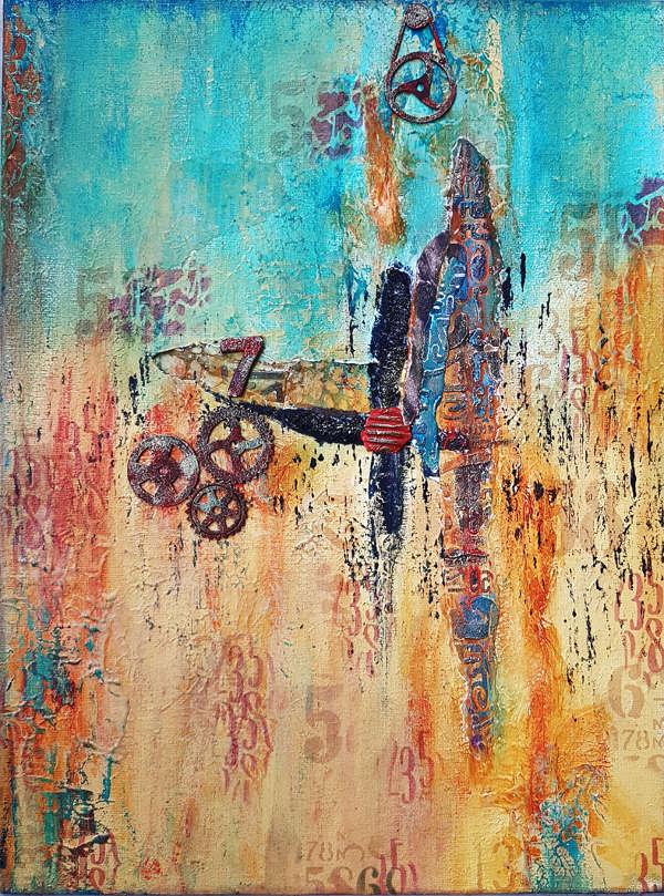 toile abstraite mixed media sur la rouille