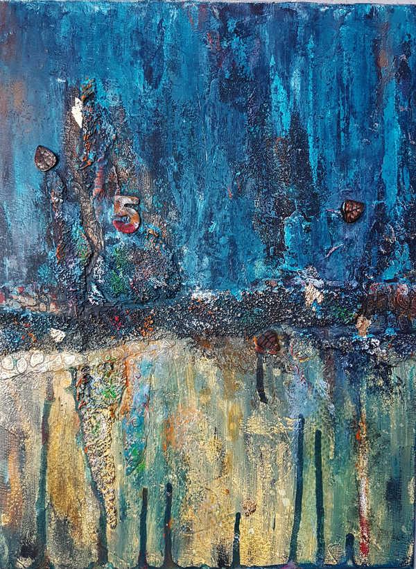 peinture abstraite effets de rouille bleutée