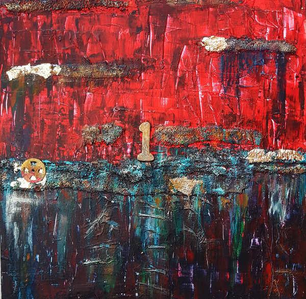 toile abstraite texturée en rouge