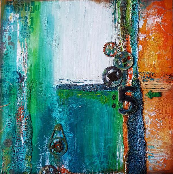 effets de rouille dans une peinture abstraite