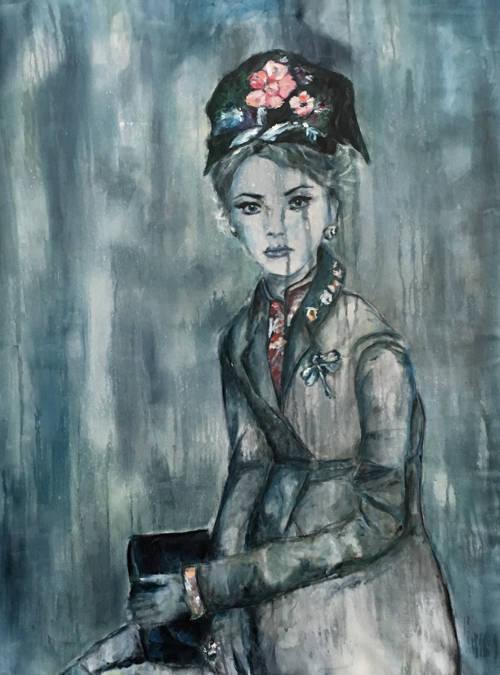 peinture de femme assise en chapeau