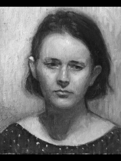 portrait de jeune fille au fusain
