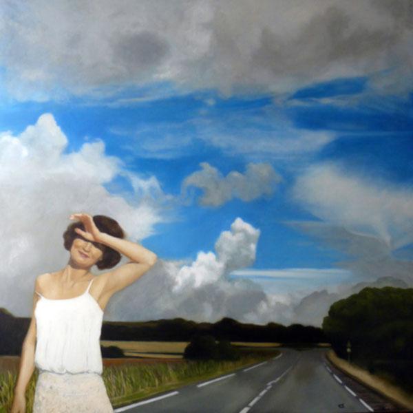 peinture à l'huile d'une femme sur une route devant un ciel