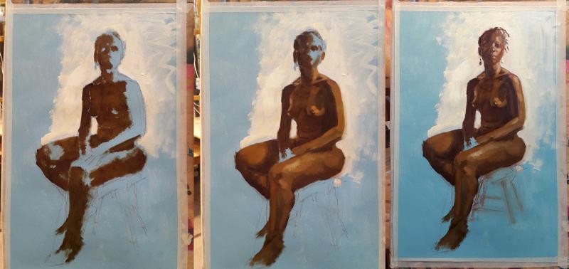femme peinte à l'huile alla prima