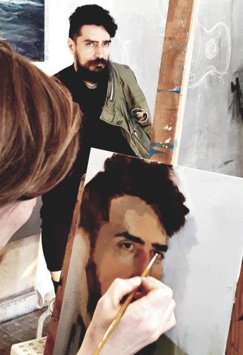 portrait d'homme barbu peinture à l'huile