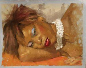 portrait à l'huile de femme