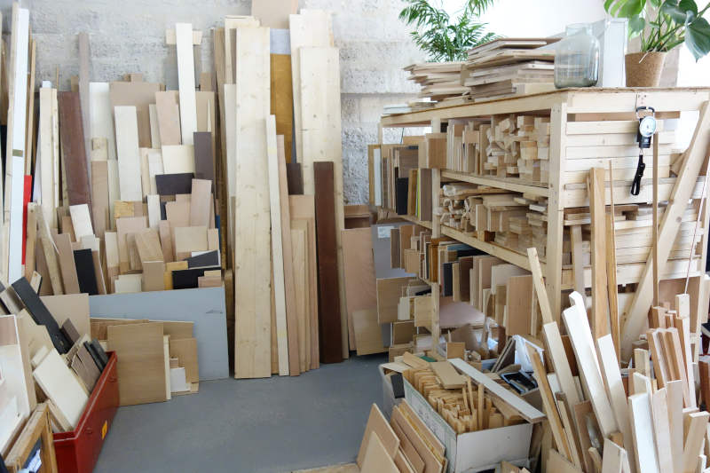 stock de chutes de bois