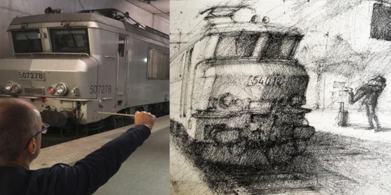 crayonné de locomotive et son modèle