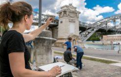 femme dessinant le pont d'austerlitz
