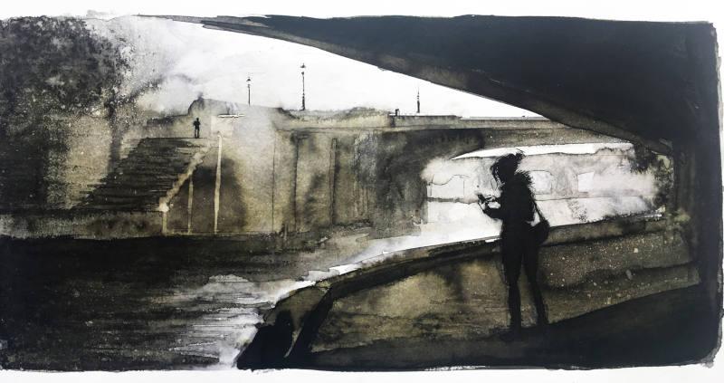 deux personnages près d'un pont - dessin
