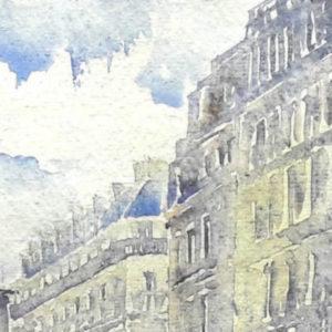 aquarelle d'un immeuble parisien