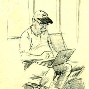 croquis sur le vif d'un homme avec un ordinateur