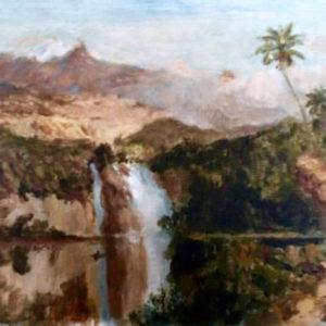 peinture paysage cascade et palmier