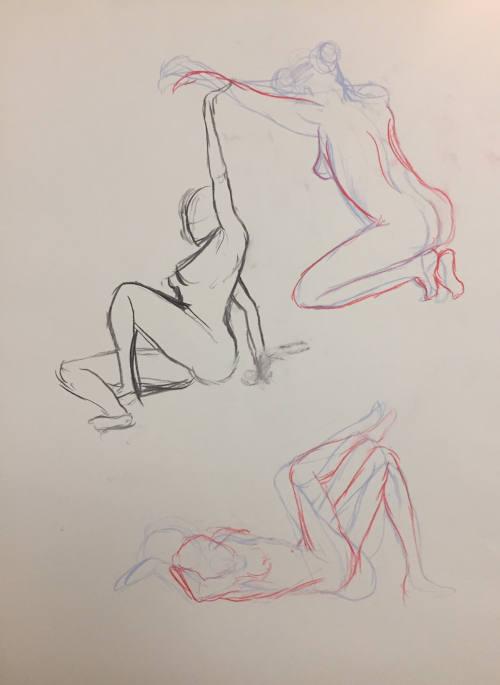trois dessins de modèle femme nue
