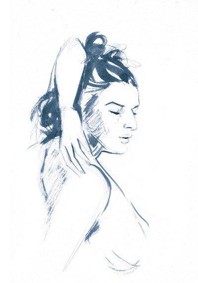 dessin de buste de femme le bras replié