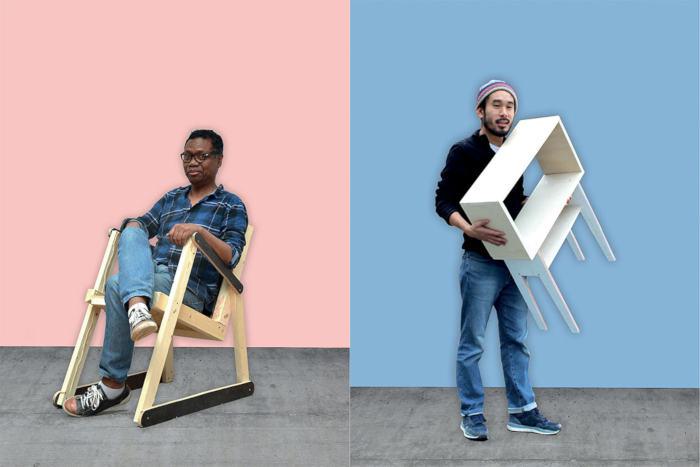 deux personnes avec le meuble en bois qu'ils viennent de créer