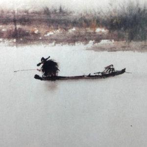 pêcheur et barque à l'encre de chine