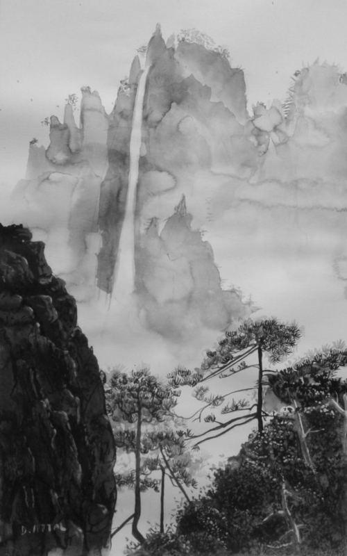 montagne et cascade encre de chine