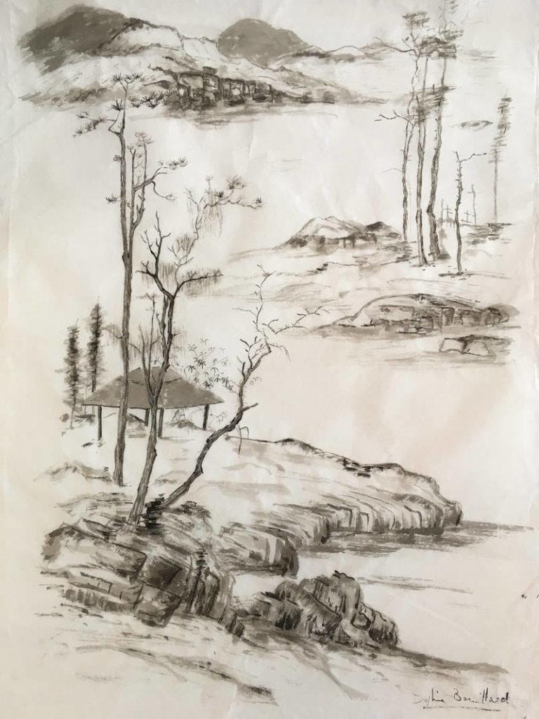 paysage rivière encre de chine