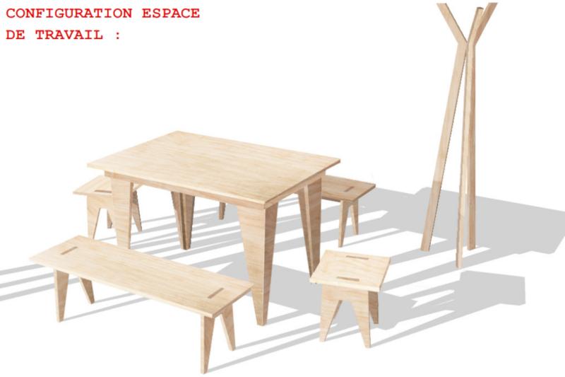 mobilier en bois table bancs et tabourets
