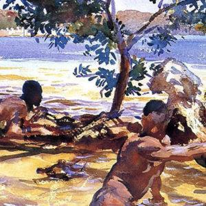aquarelle d'hommes sur une plage