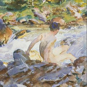 aquarelle femme au bord de la rivière