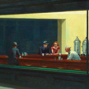 tableau de hopper, hommes et femme dans un café de nuit