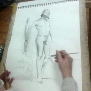 dessin de nu d'homme debout