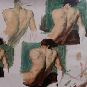 esquisses peinture homme de dos