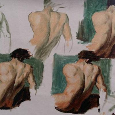 torses d'homme de dos peints