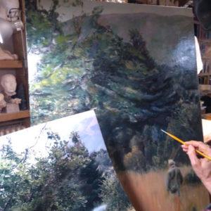 Esquisse peinte, technique à l'huile d'après une photo de l'élève