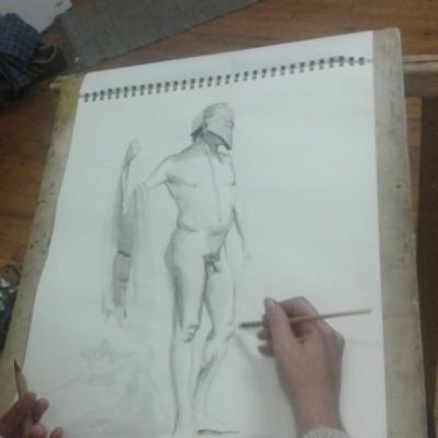 dessin d'homme nu à l'encre