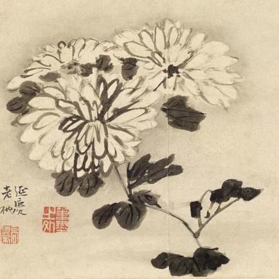 chrysanteme encre de chine