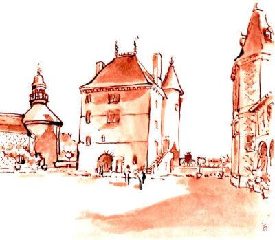 aquarelle chateau