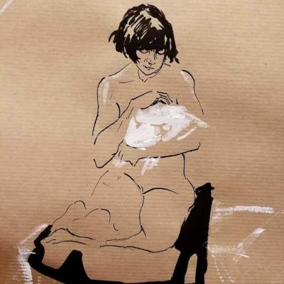 dessin de femme nue à l'encre agenouillée