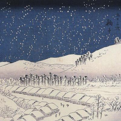 paysage de neige dessiné à l'encre de chine